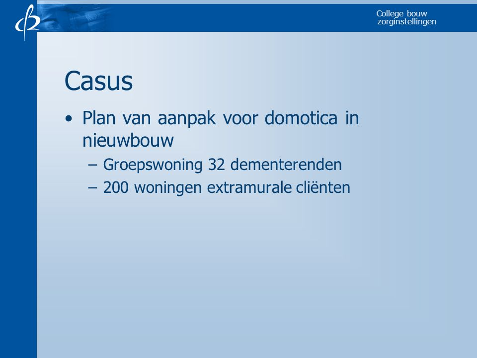 Casus Plan van aanpak voor domotica in nieuwbouw