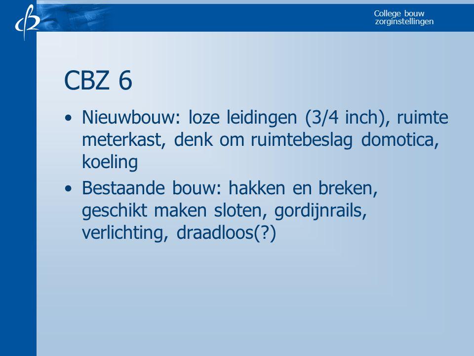 CBZ 6 Nieuwbouw: loze leidingen (3/4 inch), ruimte meterkast, denk om ruimtebeslag domotica, koeling.