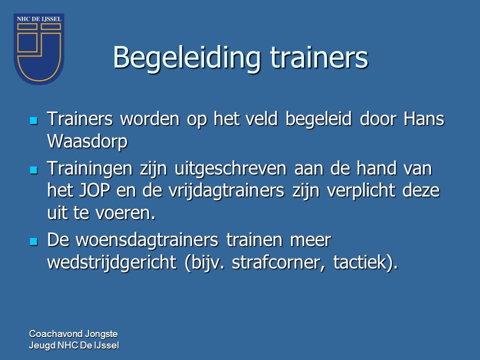 Begeleiding trainers Trainers worden op het veld begeleid door Hans Waasdorp.