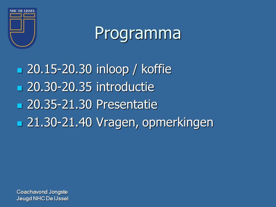 Programma 20.15-20.30 inloop / koffie 20.30-20.35 introductie