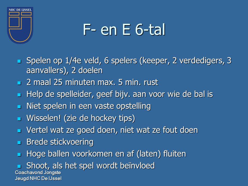 F- en E 6-tal Spelen op 1/4e veld, 6 spelers (keeper, 2 verdedigers, 3 aanvallers), 2 doelen. 2 maal 25 minuten max. 5 min. rust.