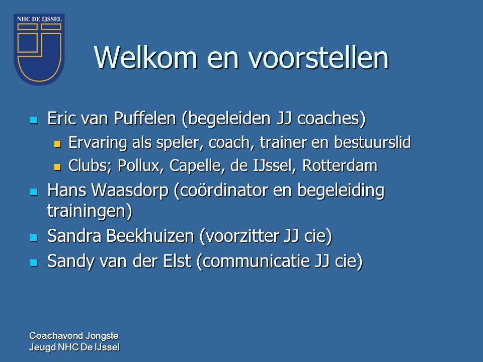 Welkom en voorstellen Eric van Puffelen (begeleiden JJ coaches)