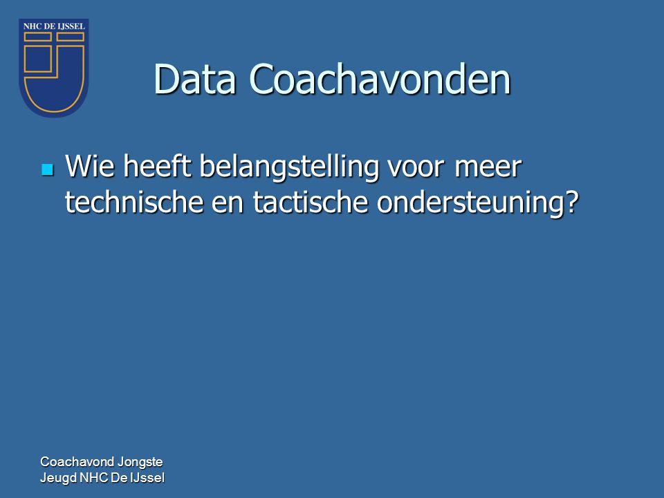 Data Coachavonden Wie heeft belangstelling voor meer technische en tactische ondersteuning.