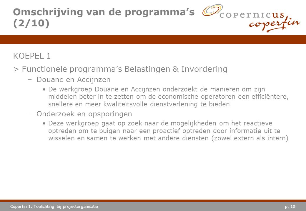 Omschrijving van de programma's (2/10)