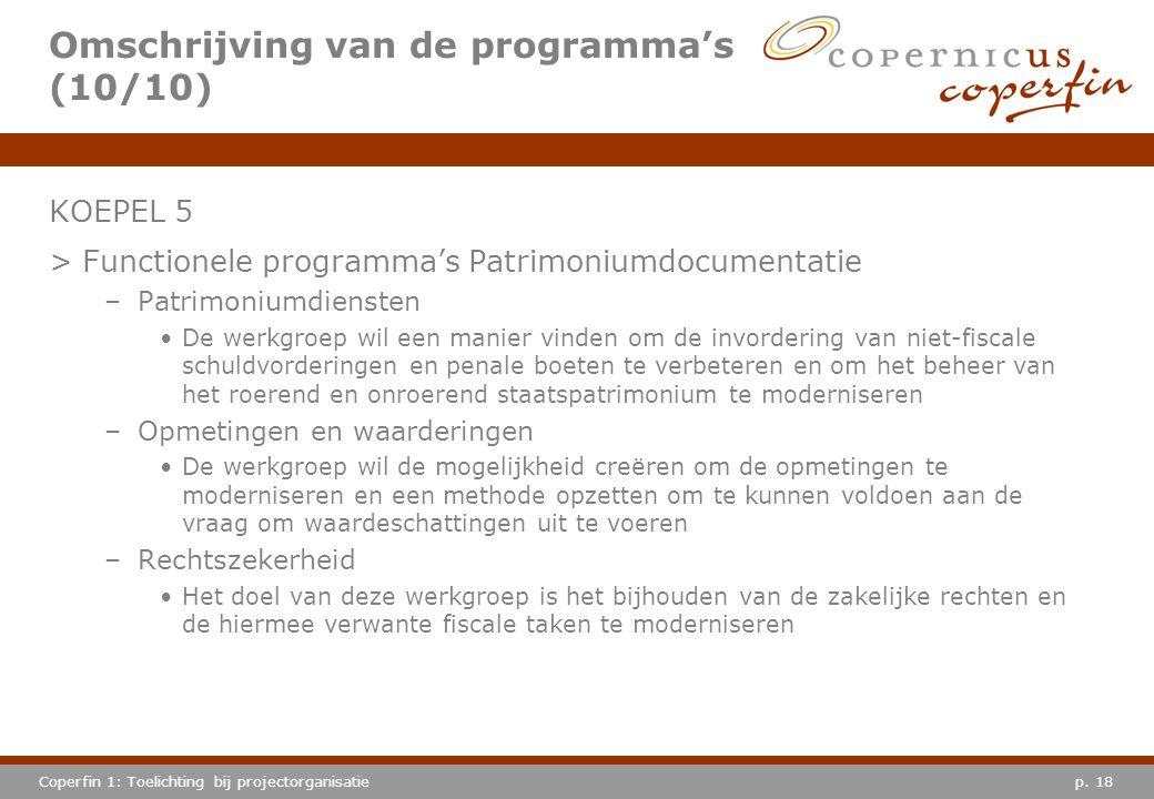 Omschrijving van de programma's (10/10)