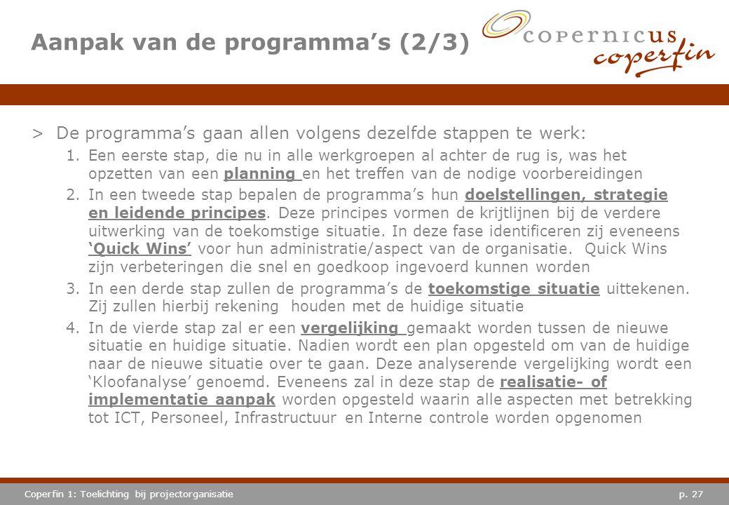 Aanpak van de programma's (2/3)
