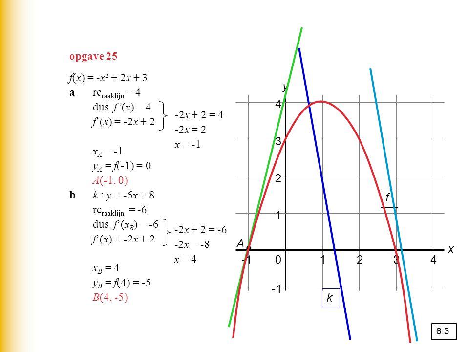 y 4 3 2 f 1 A ● x -1 1 2 3 4 -1 k opgave 25 f(x) = -x² + 2x + 3