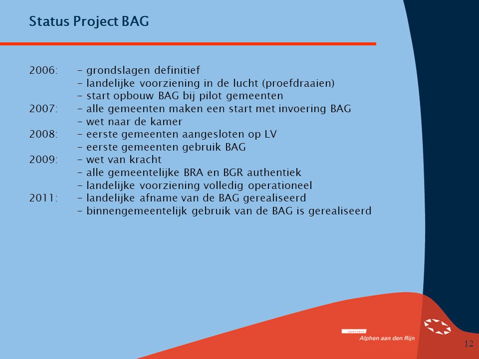 Status Project BAG 2006: - grondslagen definitief