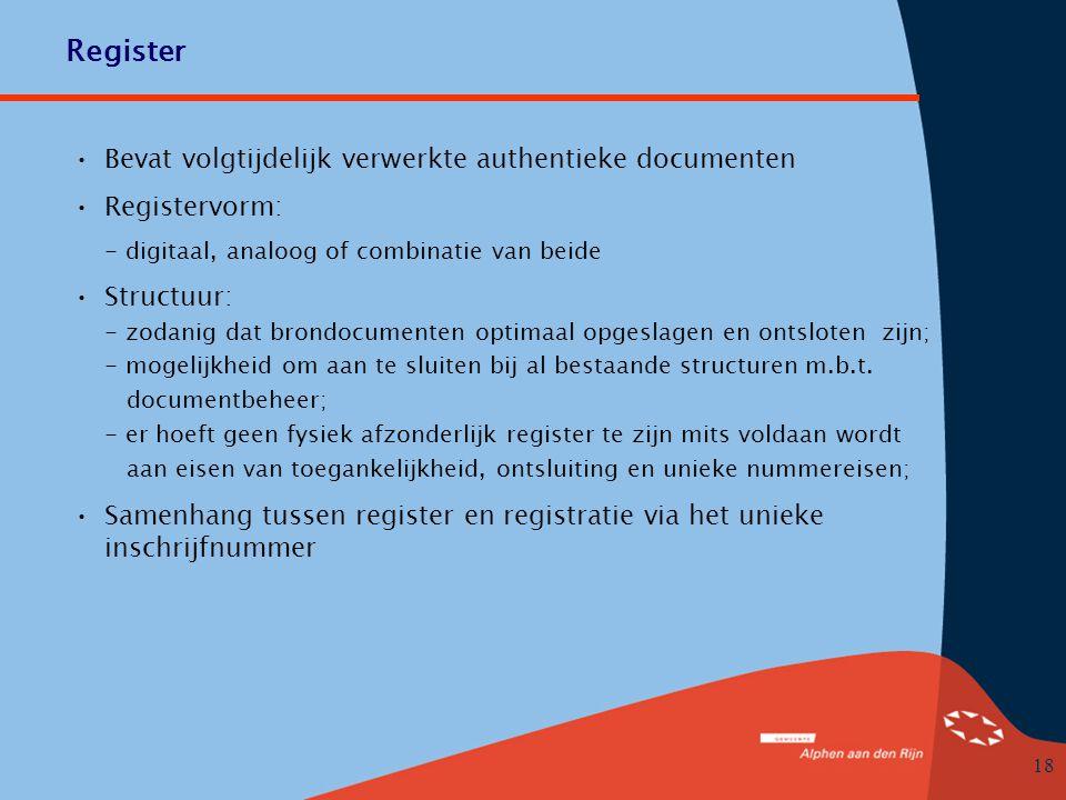 Register Bevat volgtijdelijk verwerkte authentieke documenten