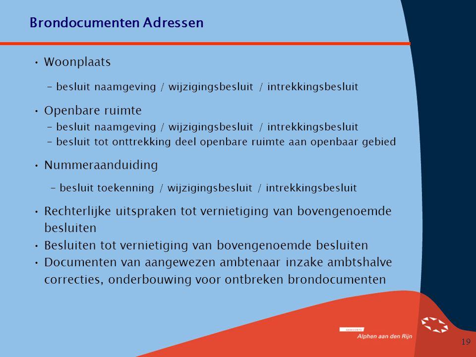 Brondocumenten Adressen