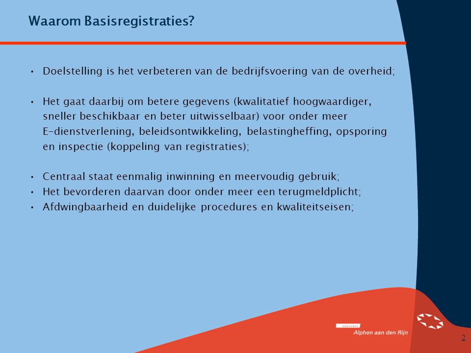 Waarom Basisregistraties