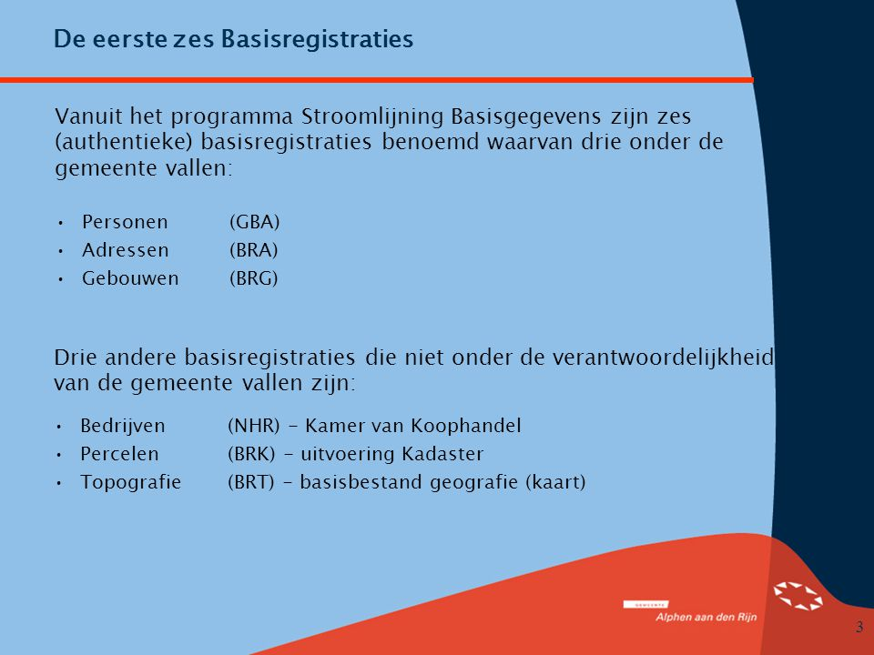 De eerste zes Basisregistraties