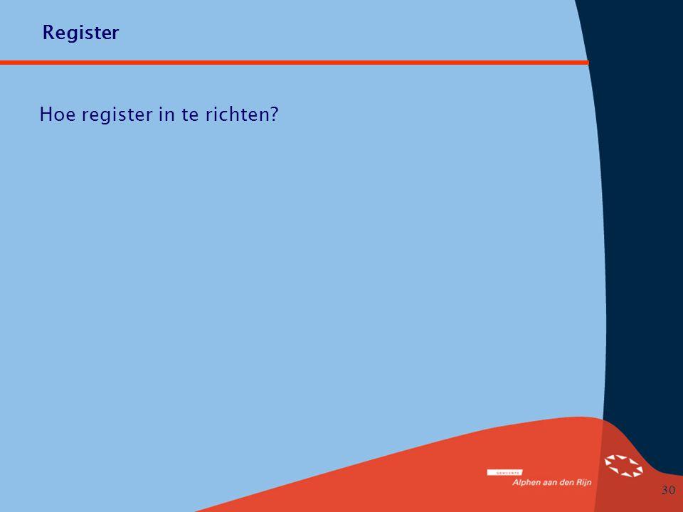 Hoe register in te richten