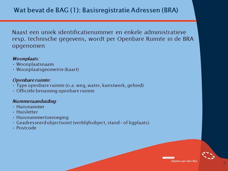 Wat bevat de BAG (1): Basisregistratie Adressen (BRA)
