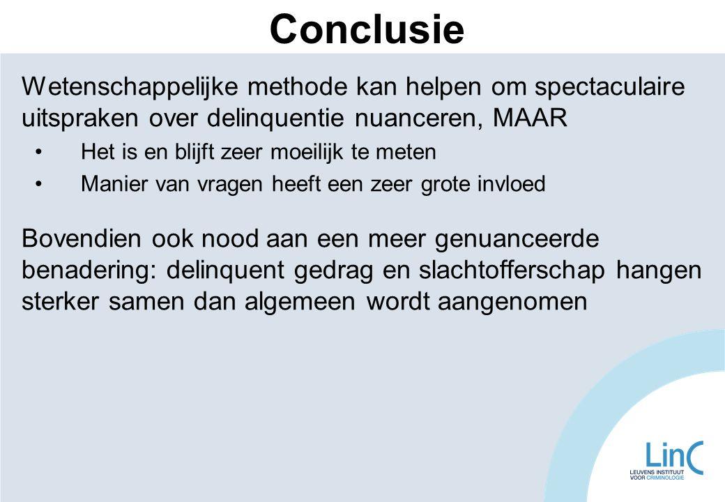 Conclusie Wetenschappelijke methode kan helpen om spectaculaire uitspraken over delinquentie nuanceren, MAAR.