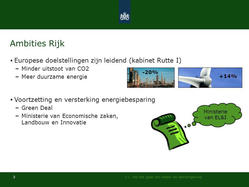 Ambities Rijk Europese doelstellingen zijn leidend (kabinet Rutte I)