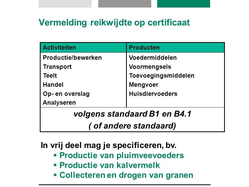 Vermelding reikwijdte op certificaat
