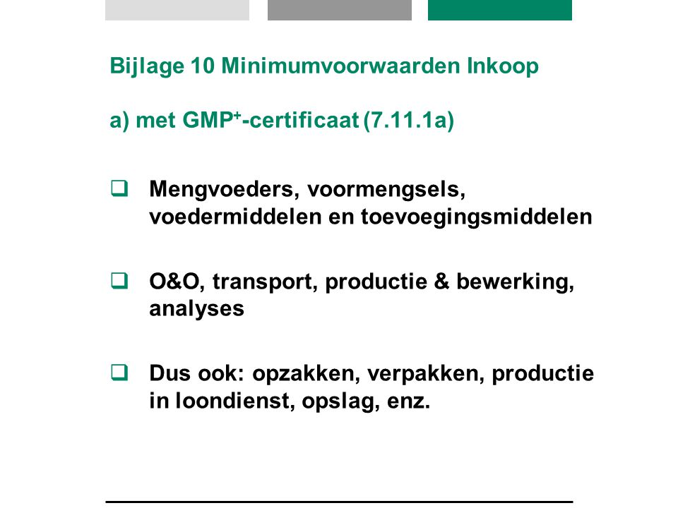 Bijlage 10 Minimumvoorwaarden Inkoop a) met GMP+-certificaat (7.11.1a)