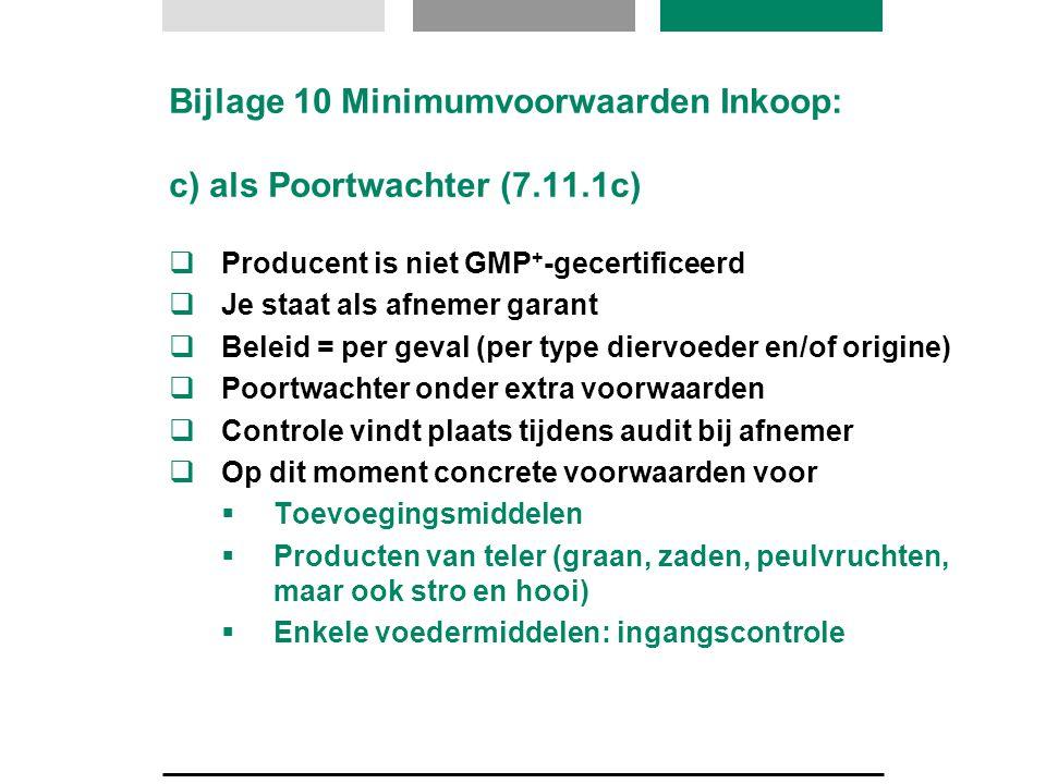 Bijlage 10 Minimumvoorwaarden Inkoop: c) als Poortwachter (7.11.1c)
