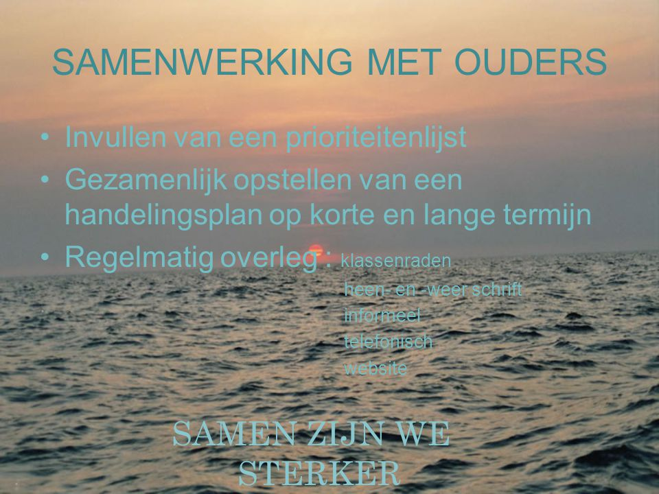 SAMENWERKING MET OUDERS