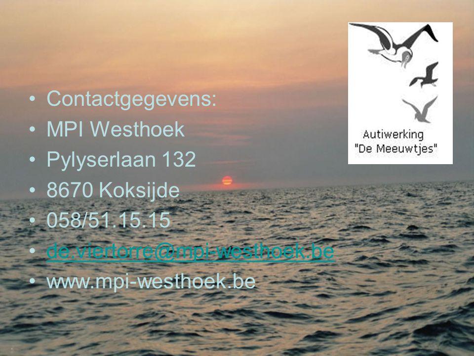 Contactgegevens: MPI Westhoek. Pylyserlaan 132. 8670 Koksijde. 058/51.15.15. de.viertorre@mpi-westhoek.be.
