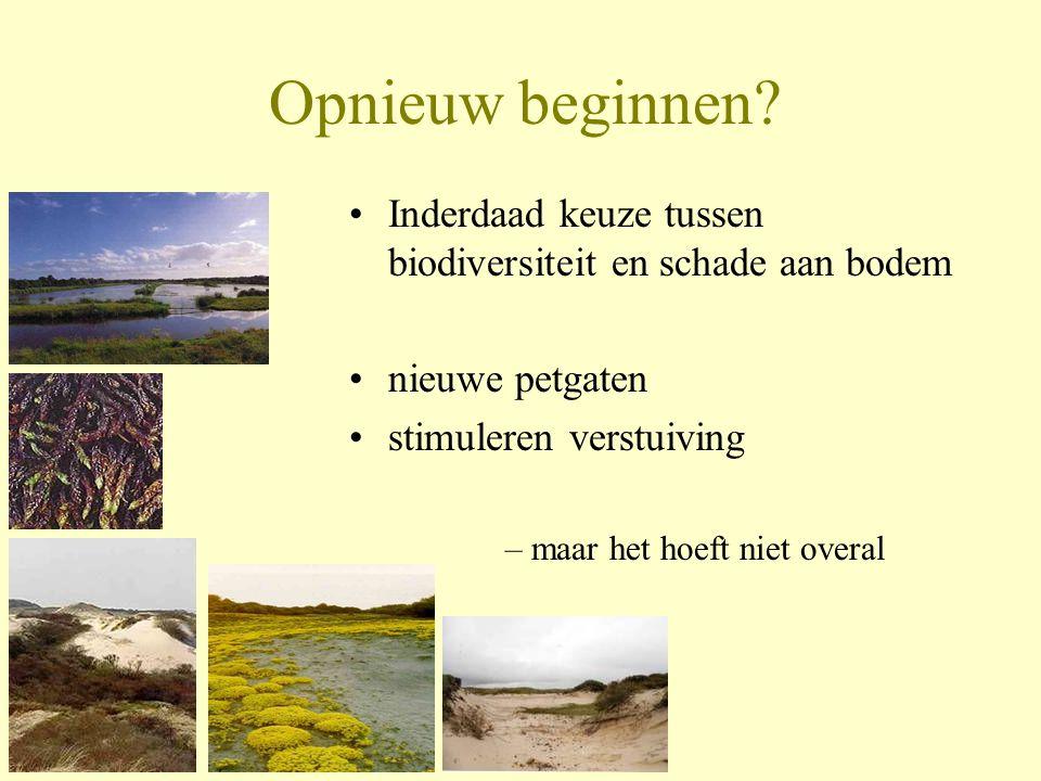 Opnieuw beginnen Inderdaad keuze tussen biodiversiteit en schade aan bodem. nieuwe petgaten. stimuleren verstuiving.