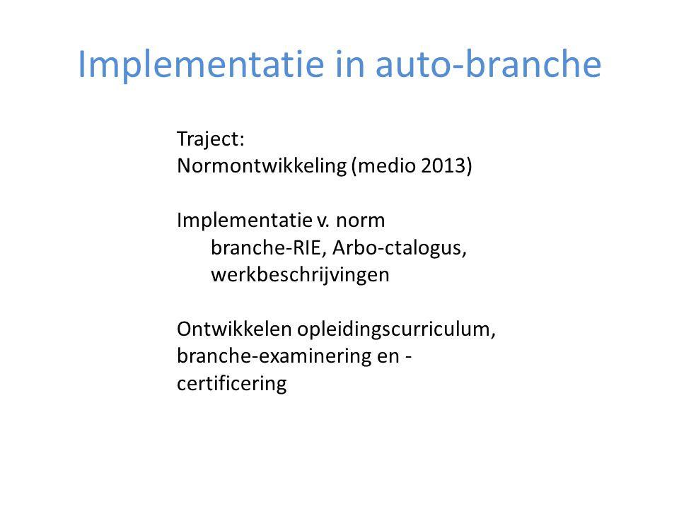 Implementatie in auto-branche