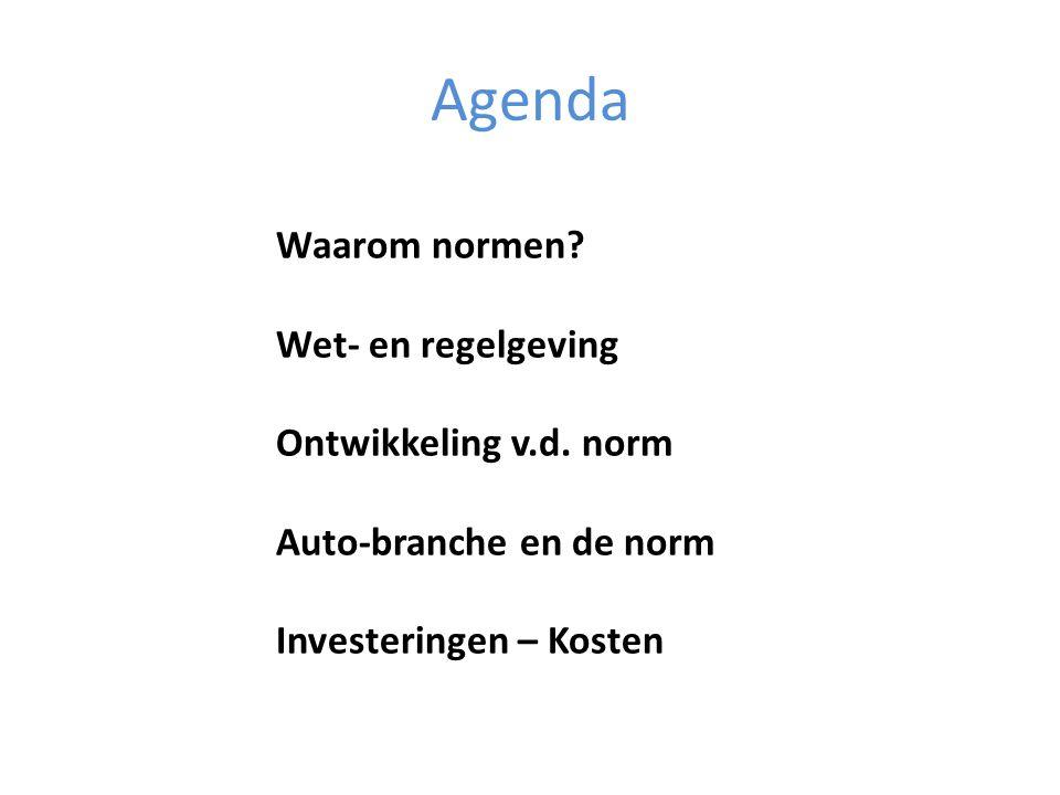 Agenda Waarom normen Wet- en regelgeving Ontwikkeling v.d. norm