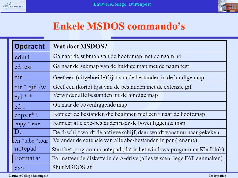 Enkele MSDOS commando's