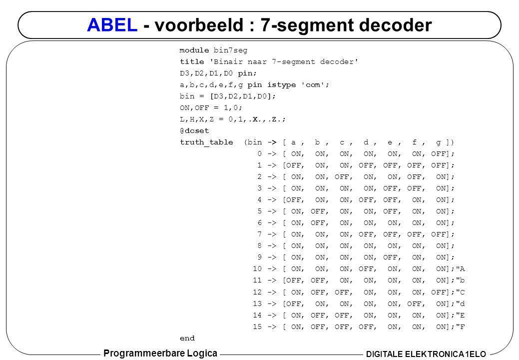 ABEL - voorbeeld : 7-segment decoder