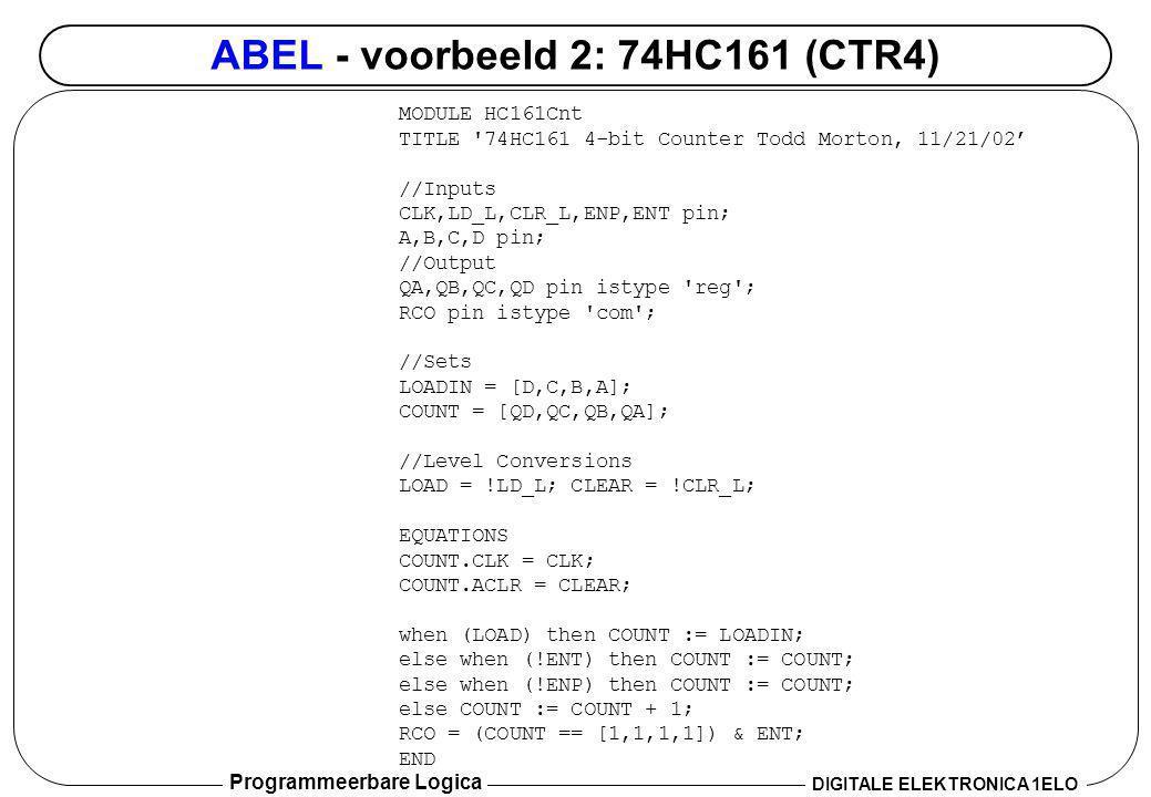 ABEL - voorbeeld 2: 74HC161 (CTR4)