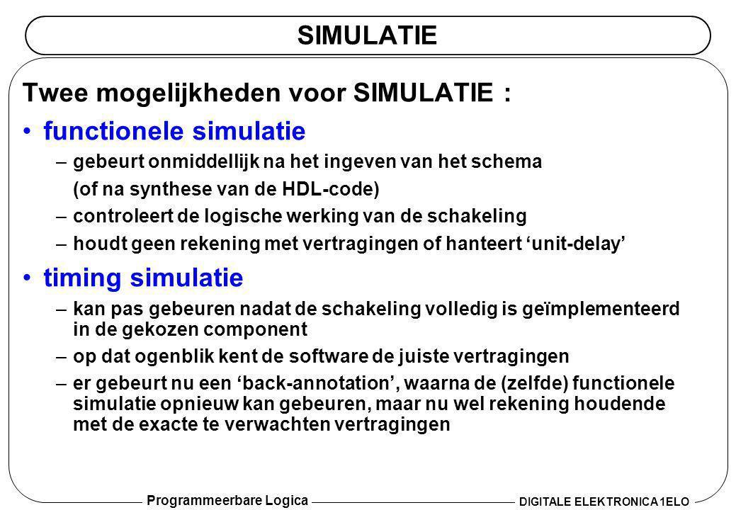 Twee mogelijkheden voor SIMULATIE : functionele simulatie