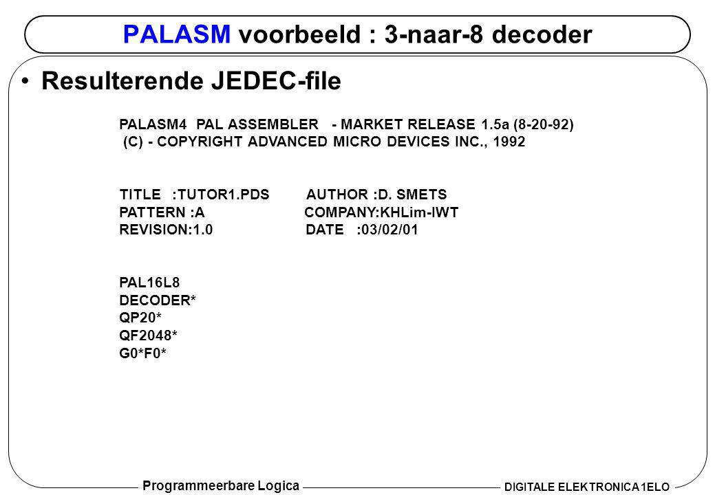 PALASM voorbeeld : 3-naar-8 decoder