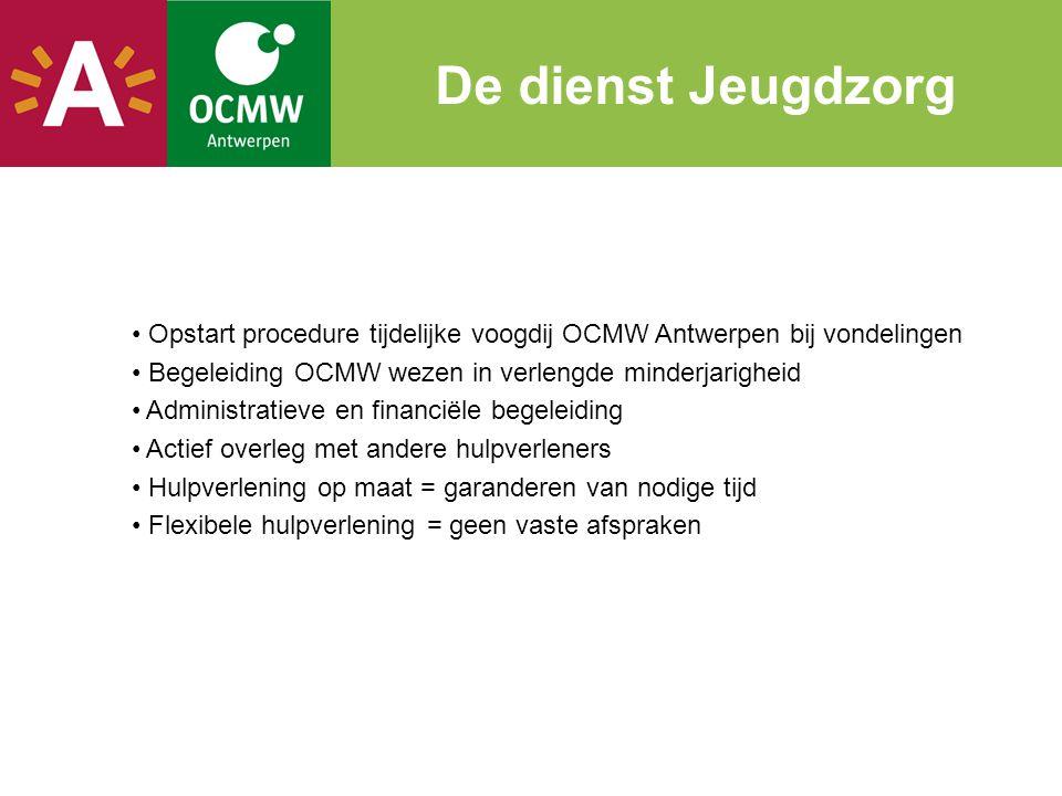 De dienst Jeugdzorg Opstart procedure tijdelijke voogdij OCMW Antwerpen bij vondelingen. Begeleiding OCMW wezen in verlengde minderjarigheid.