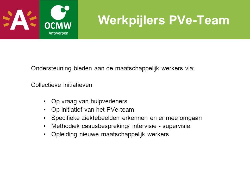 Werkpijlers PVe-Team Ondersteuning bieden aan de maatschappelijk werkers via: Collectieve initiatieven.