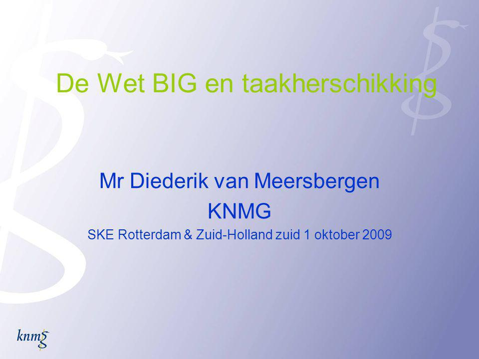 De Wet BIG en taakherschikking