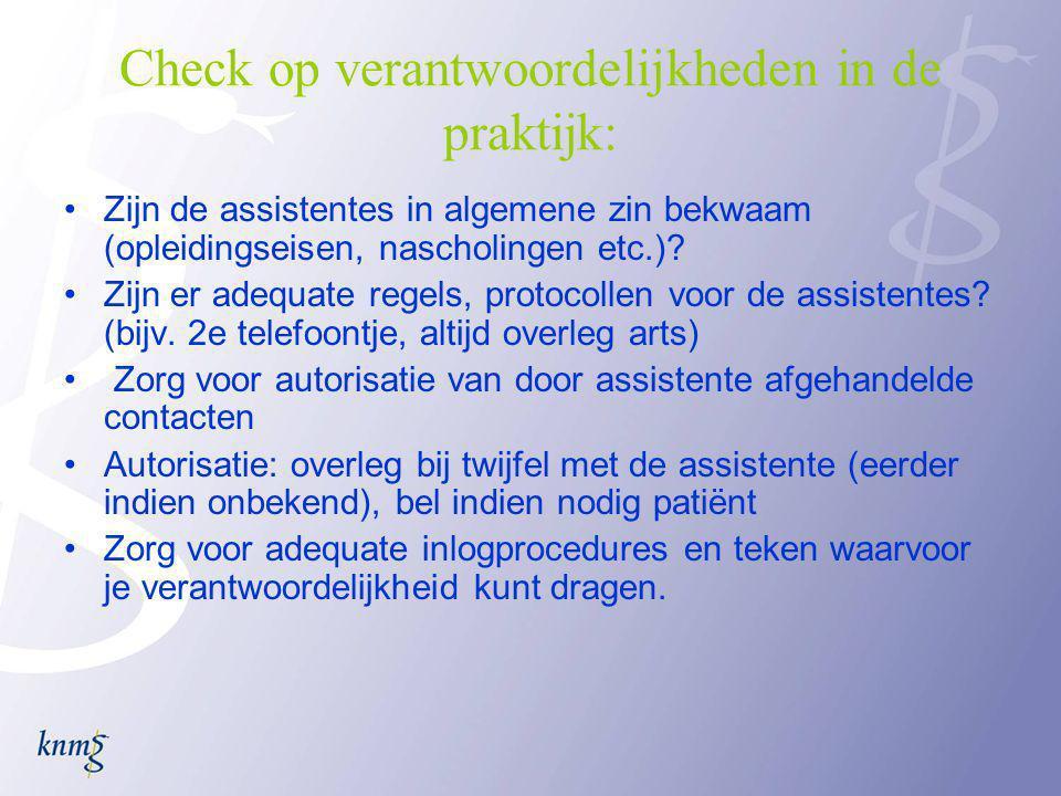 Check op verantwoordelijkheden in de praktijk: