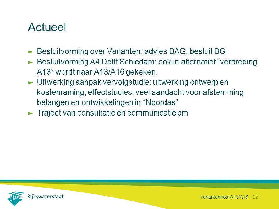 Actueel Besluitvorming over Varianten: advies BAG, besluit BG