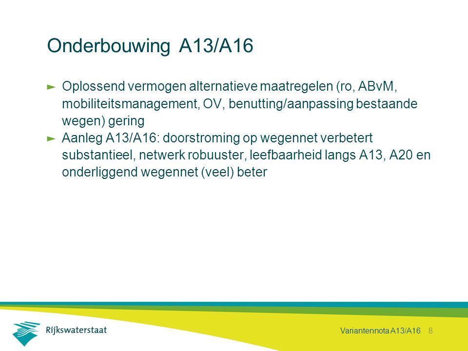 Onderbouwing A13/A16 Oplossend vermogen alternatieve maatregelen (ro, ABvM, mobiliteitsmanagement, OV, benutting/aanpassing bestaande wegen) gering.
