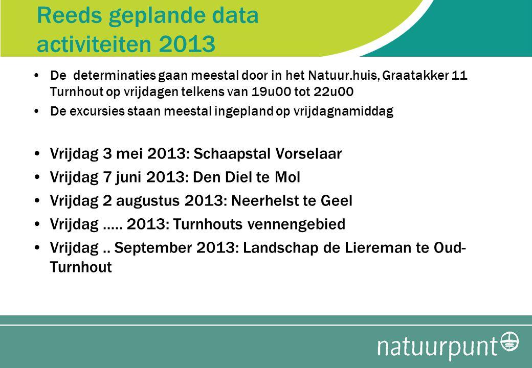 Reeds geplande data activiteiten 2013