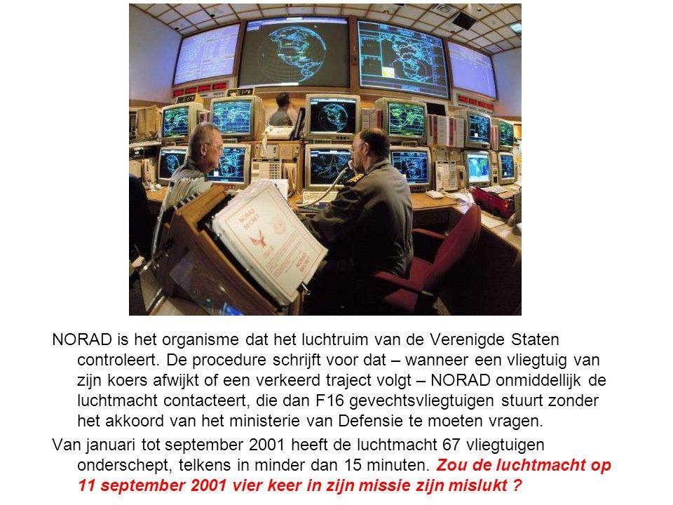 NORAD is het organisme dat het luchtruim van de Verenigde Staten controleert. De procedure schrijft voor dat – wanneer een vliegtuig van zijn koers afwijkt of een verkeerd traject volgt – NORAD onmiddellijk de luchtmacht contacteert, die dan F16 gevechtsvliegtuigen stuurt zonder het akkoord van het ministerie van Defensie te moeten vragen.