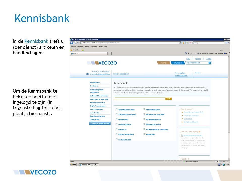 Kennisbank In de Kennisbank treft u (per dienst) artikelen en handleidingen.