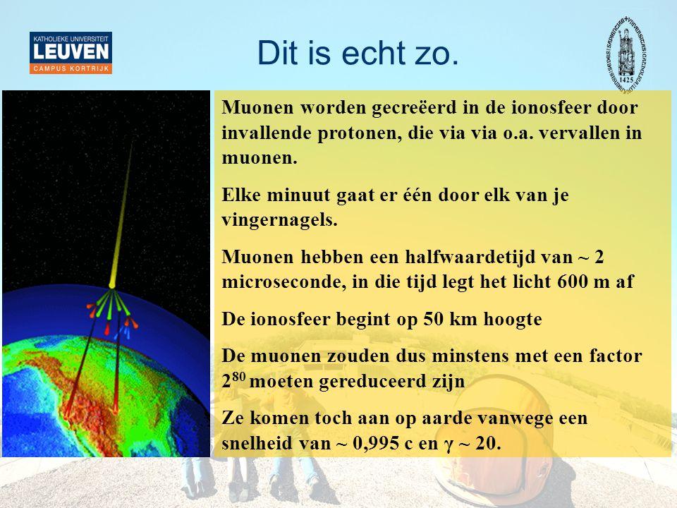 Dit is echt zo. Muonen worden gecreëerd in de ionosfeer door invallende protonen, die via via o.a. vervallen in muonen.