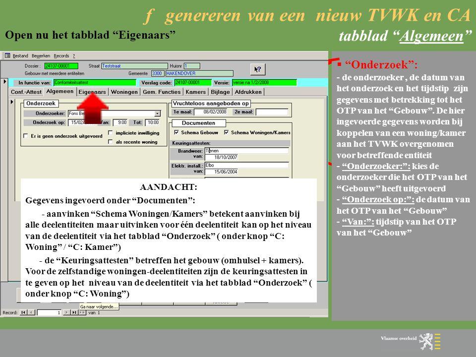 f genereren van een nieuw TVWK en CA tabblad Algemeen