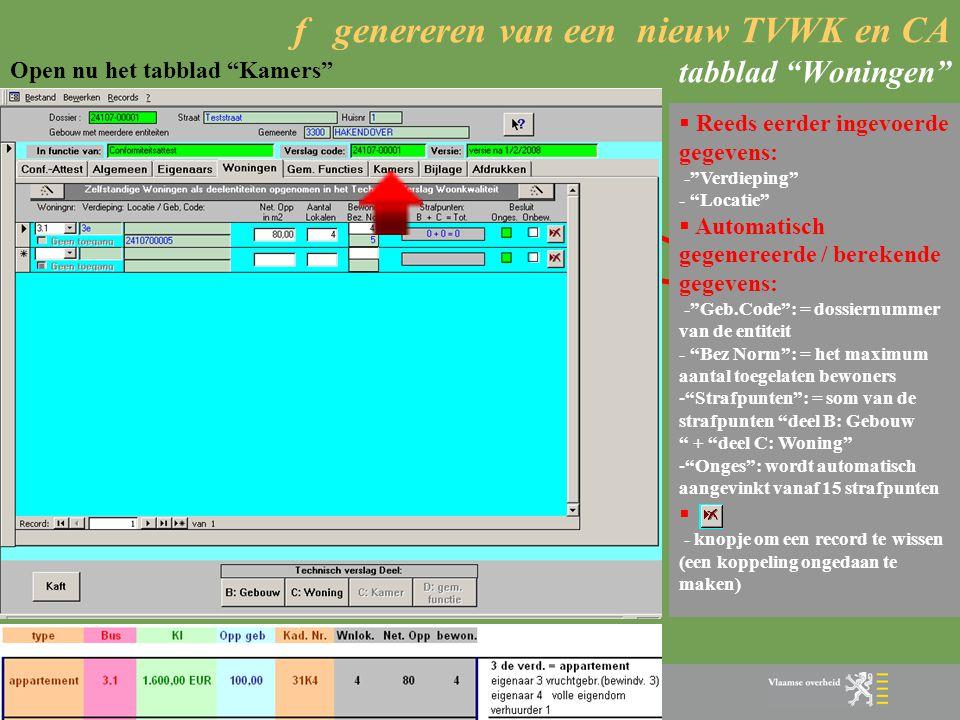 f genereren van een nieuw TVWK en CA tabblad Woningen