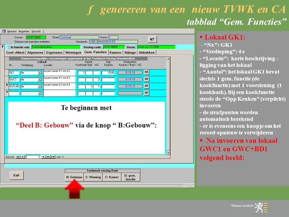 f genereren van een nieuw TVWK en CA tabblad Gem. Functies