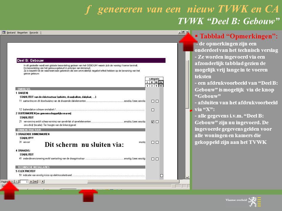 f genereren van een nieuw TVWK en CA TVWK Deel B: Gebouw