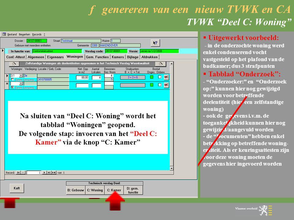 f genereren van een nieuw TVWK en CA TVWK Deel C: Woning