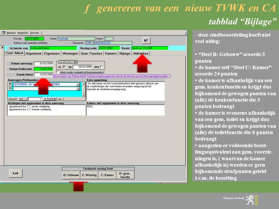 f genereren van een nieuw TVWK en CA tabblad Bijlage