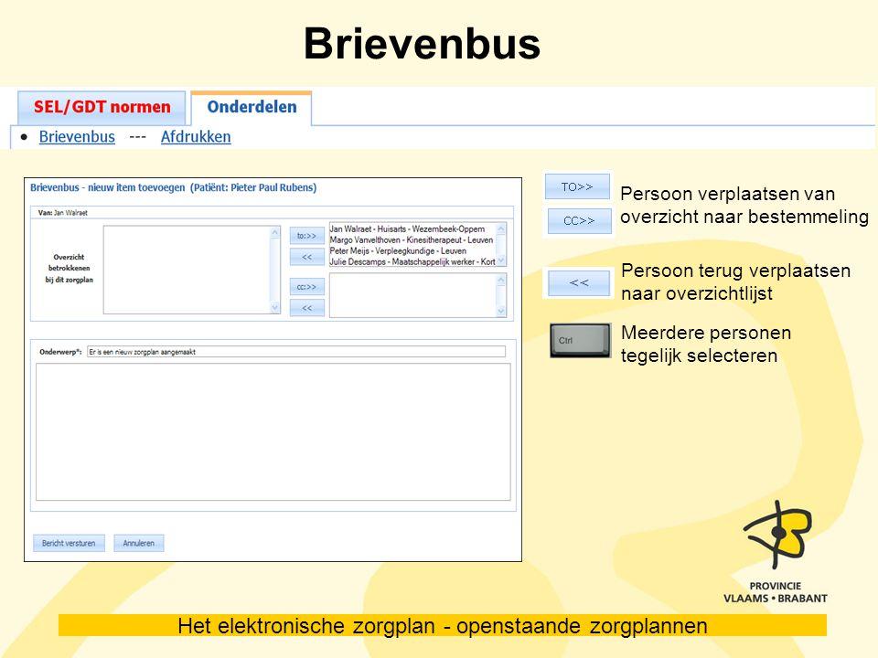 Brievenbus Persoon verplaatsen van overzicht naar bestemmeling